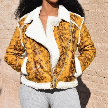 Lovely Leisure Patchwork Yellow Winter Coat