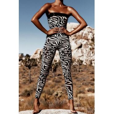 Lovely Trendy Dew Shoulder Zebra Stripe One-piece Jumpsuit