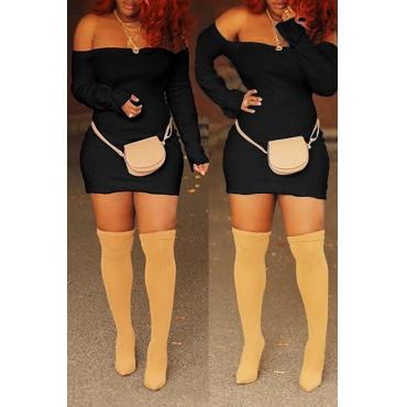Lovely Casual Off The Shoulder Skinny Black Mini Dress