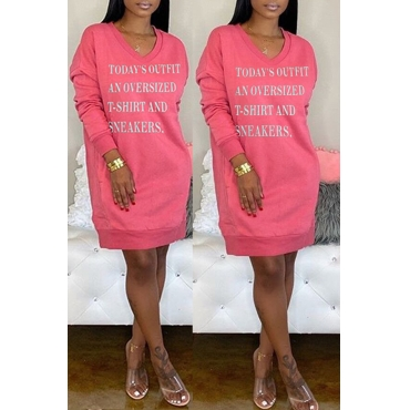 Lovely Casual Letter Printed Pink Mini Dress