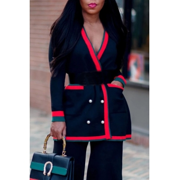 Lovely Casual Patchwork Black Cardigan(Without Belt)