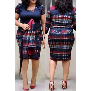 Lovely Casual Printed Multicolor Plus Size Two-piece Skirt Set