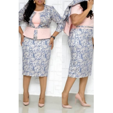 Lovely Casual Printed Pink Plus Size Two-piece Skirt Set