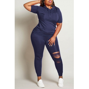 Lovely Casual Hollow-out Deep Blue Plus Size Two-piece Pants Set
