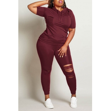Lovely Casual Hollow-out Wine Red  Plus Size Two-piece Pants Set