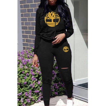 Lovely Trendy Hooded Collar Hollow-out Black Two-piece Pants Set