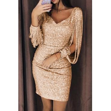 Lovely Party V Neck Tassel Design Gold Mini Evening Dress