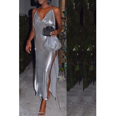 Lovely Party Side High Slit Silver Ankle Length Prom Dress