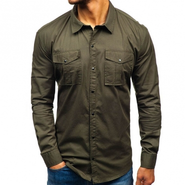Lovely Casual Buttons Design Army Green Shirt