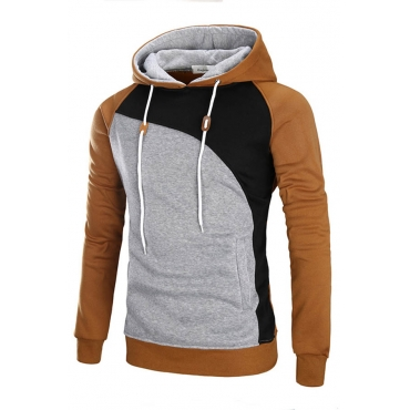 Lovely Trendy Hooded Collar Patchwork Light Tan Hoodie