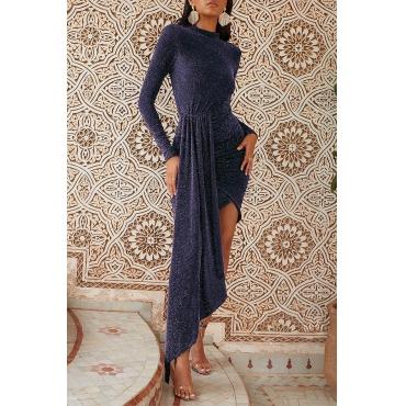 Lovely Casual Asymmetrical Blue Floor Length Prom Dress