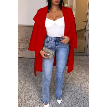 Lovely Casual Basic Loose Red Coat