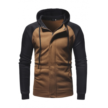 Lovely Casual Hooded Collar Color-lump Patchwork Light Tan Hoodie
