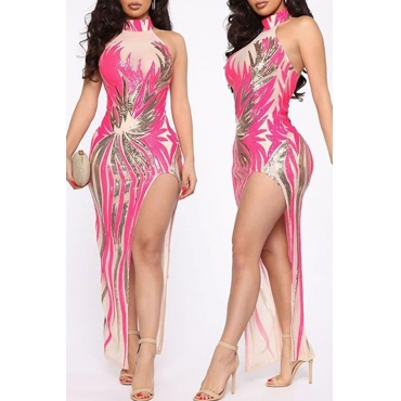 Lovely Party Side Slit Printed Pink Ankle Length Evening Dress