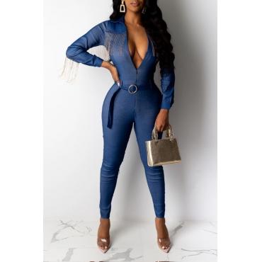Lovely Stylish Tassel Design Blue One-piece Jumpsuit(With Belt)