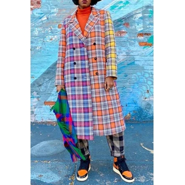 Lovely Casual Plaid Multicolor Long Coat