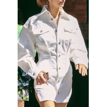 Lovely Trendy Buttons Design White Mini Dress
