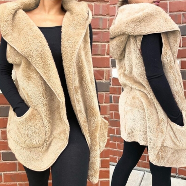Lovely Casual Hooded Collar Khaki Vest