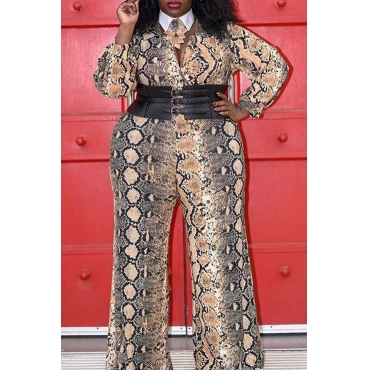 Lovely Casual V Neck Snakeskin Print Plus Size One-piece Jumpsuit