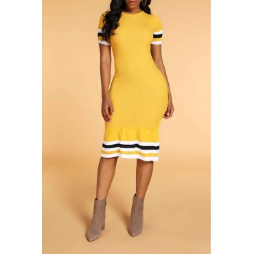 Lovely Chic Striped Yellow Knee Length Dress