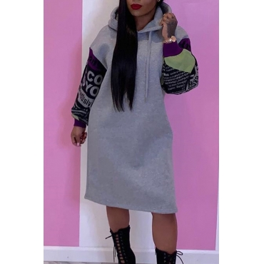 Lovely Casual Hooded Collar Patchwork Grey Knee Length Dress