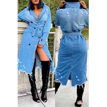 Lovely Casual Raw Edge Long Blue Coat