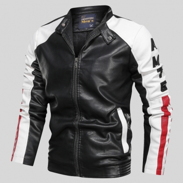 Lovely Casual Color-lump Black Jacket