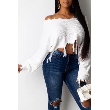 Lovely Casual Tassel Design White Sweater