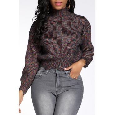 Lovely Leisure Basic Flounce Multicolor Sweater