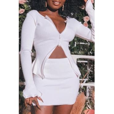 Lovely Casual Zipper Design White Two-piece Skirt Set