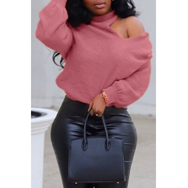 Lovely Casual Cross-over Design Pink Sweater