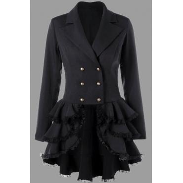 Lovely Casual Turn-back Collar Flounce Design Black Plus Size Coat