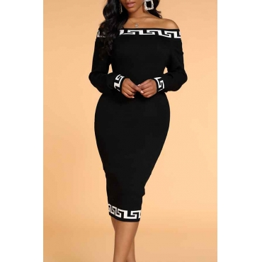 Lovely Casual Patchwork Black Knee Length Dress
