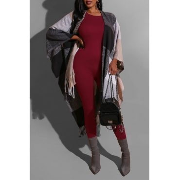 Lovely Chic Basic Skinny Wine Red One-piece Jumpsuit