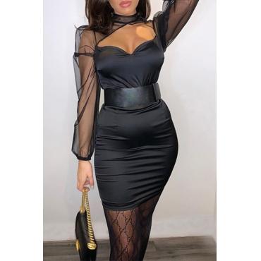 Lovely Sweet See-through Patchwork Black Mini Dress