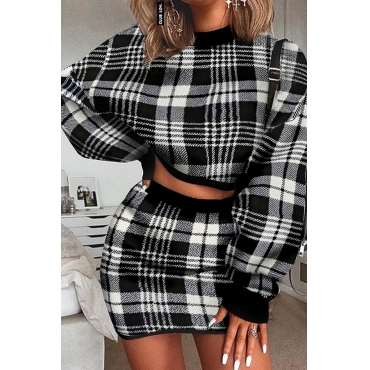 Lovely Casual Plaid Black Two-piece Skirt Set