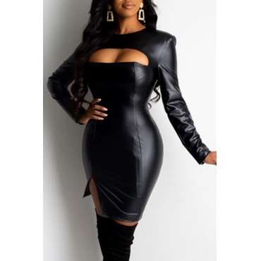 Lovely Sexy O Neck Hollow-out Black Mini Dress