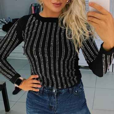 Lovely Casual Striped Black T-shirt