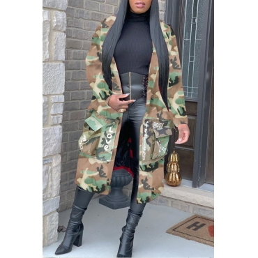 Lovely Casual Camo Letter Loose Coat
