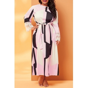 Lovely Casual O Neck Print Pink Mid Calf Plus Size Dress