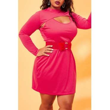 Lovely Trendy Hollow-out Red Plus Size Mini Dress(Without Belt)