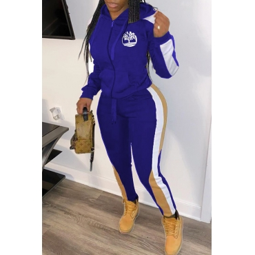 Lovely Sportswear Hooded Collar Patchwork Blue Two-piece Pants Set