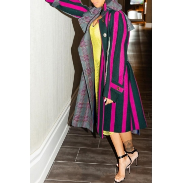 Lovely Casual Striped Rose Red Coat