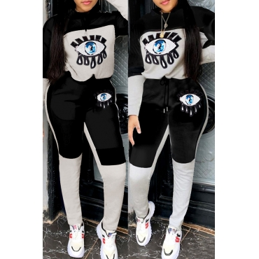 Lovely Casual Eye Patchwork Black Two-piece Pants Set