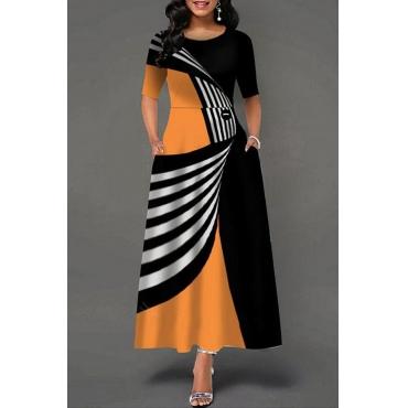 Lovely Trendy Print Black Ankle Length Dress