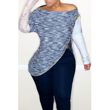 Lovely Casual Patchwork Blue Blouse