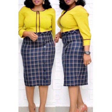 Lovely Trendy Plaid Print Yellow  Knee Length Plus Size Dress