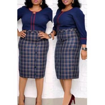 Lovely Trendy Plaid Print Dark Blue Knee Length Plus Size Dress