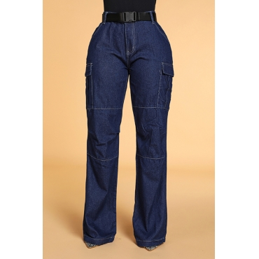 Lovely Chic Loose Deep Blue Jeans