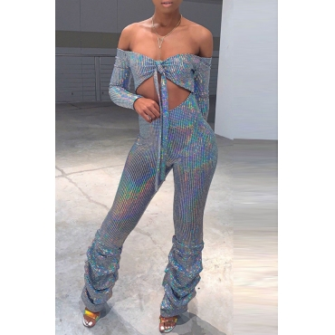 Lovely Stylish Hollow-out Silver One-piece Jumpsuit